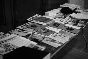 Never The Same ephemera at our first archiving discussion in November 2010 at Experimental Station. Photo by Jerome Grand.