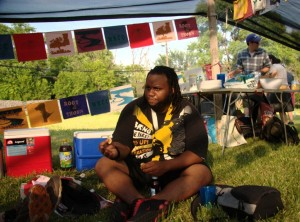 Rashaun Harris of Hush House at Compass picnic following the 2010 US Social Forum in Detroit (Photo by Claire Pentecost)
