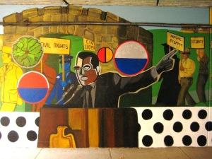 Restored and Reinterpreted mural by Astrid Fuller, The Spirit of Hyde Park