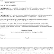 Mess Hall intellectual property rights contract from final closing event