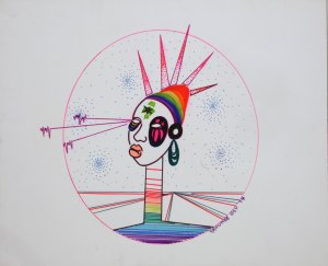 The bust of a woman with spiky hair and multicolor apparel, in an oval with laser lines emerging from one eye.