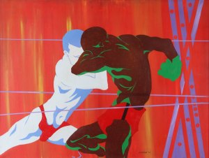 Yaoundé Olu, Conflict . 1972, acrylic on canvas, 30 x 40 in. Collection of the South Side Community Art Center.