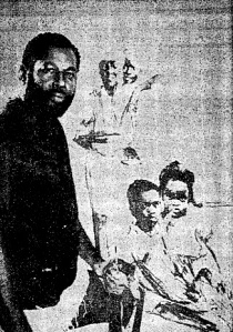 "Artist Calvin Jones with his work in the exhibition ""Very Much Alive"" at the Afam Gallery on 75th St in 1972. Photo from the Chicago Defender."