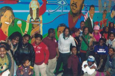 Mural with students at Harper High School